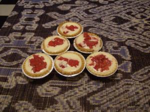 Some trial tarts: shoddy presentation, commendable taste.